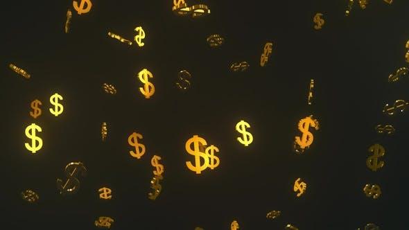 Glittering Golden Dollars Floating in Dark Space