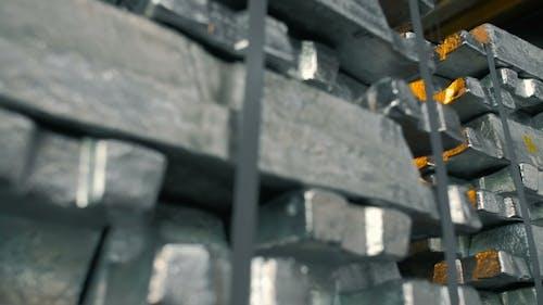Metal Ingots in Stock Warehouse