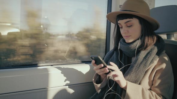 Pretty Girl Travels in Train