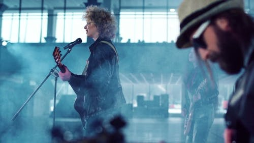 Rock Band Performing While Shooting Music Video