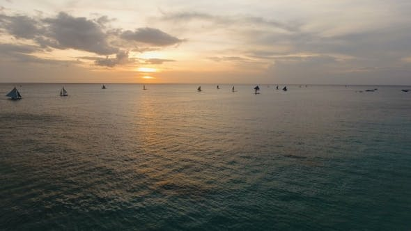 Thumbnail for Beautiful Sunset Over Sea, Aerial View. Boracay Island Philippines.
