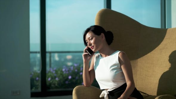 Thumbnail for Woman Talking To the Phone, High Business Interior