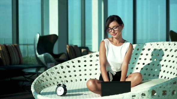 Thumbnail for Young Business Woman Typing Email
