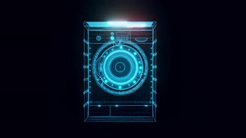 Washing Machine Hologram Rotating 4k
