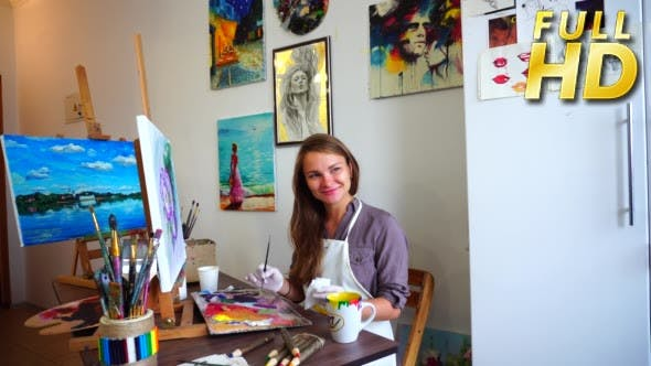Thumbnail for Portrait of Artist Sitting at Easel. Mixes Paints