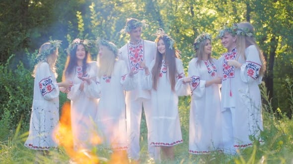 Thumbnail for Midsummer. A Group of Young People of Slavic Appearance at the Celebration of Midsummer.