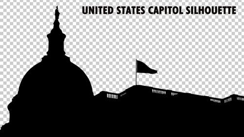 United States Capitol Dome And National Flag Waving Silhouette