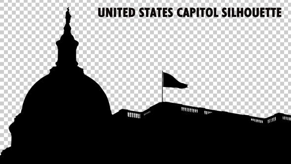 Thumbnail for United States Capitol Dome And National Flag Waving Silhouette