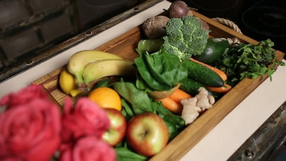 Thumbnail for Top View of Fresh Fruits and Vegetable in Tray