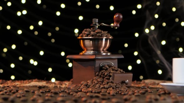 Thumbnail for White Cup Hot Drink with Smoke and Coffee Grinder. Studio