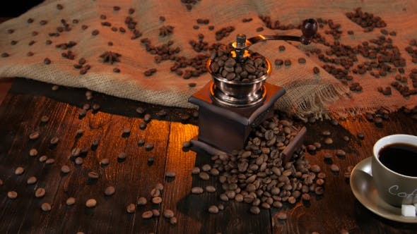 Thumbnail for Black Coffee in Cup on Saucer with Pieces of Sugar