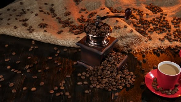 Thumbnail for Antique Coffee Mill on Table with Two Cups of Latte