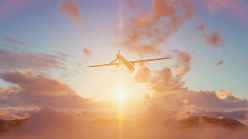 Military Drone (UAV) - Sunset