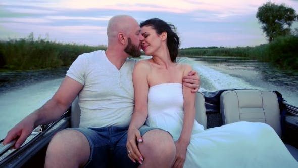 Thumbnail for Loving Couple on Holiday, Happy Family Riding on a Boat, Summer Vacation for Men and Women, Water