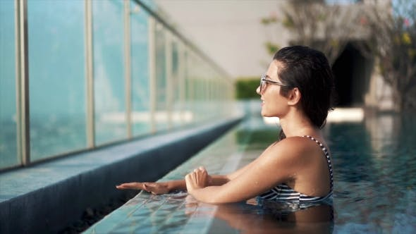 Thumbnail for Beautiful Sexy Woman Get Out From the Pool