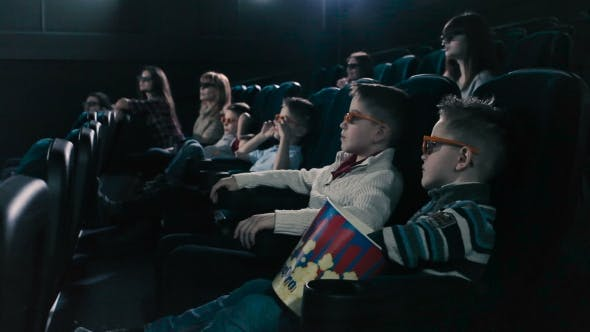 Thumbnail for People Watching a Horror Movie in the Cinema