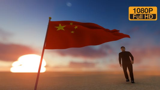 Thumbnail for China Flag and Man Walking