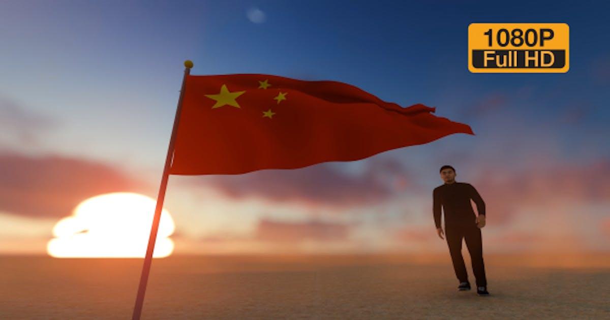 China Flag and Man Walking