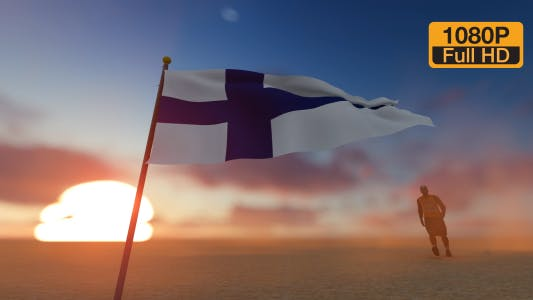 Finland Flag and Man Walking