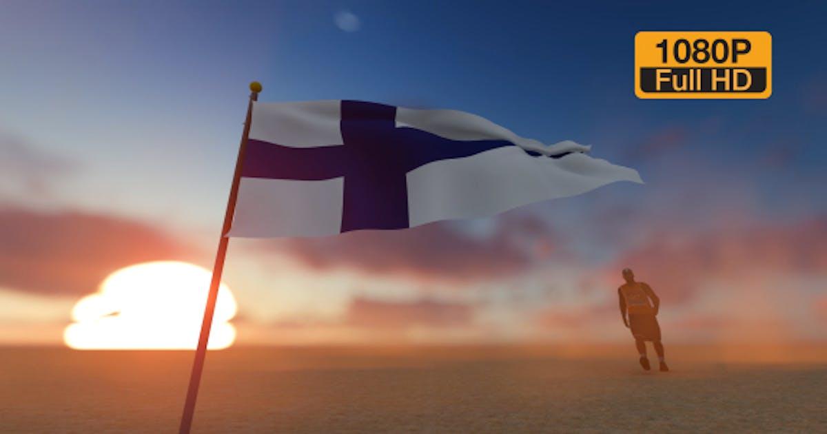 Finland Flag and Man Walking