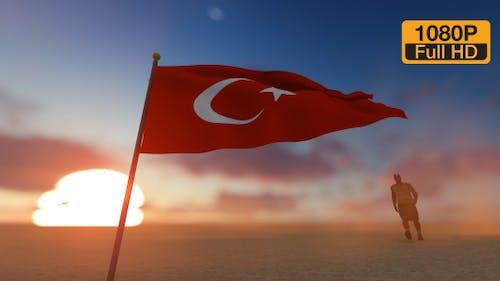 Türkei-Flagge und Walking Man
