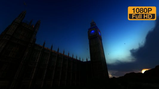 Big Ben Tower Clock and Time-lapse Sky