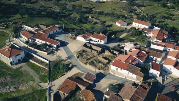 Cover Image for Aerial View Red Tiled Roofs Typical Village