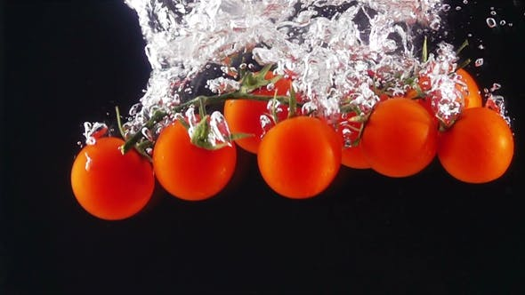 Cover Image for Whole Tomatoes Falling Through Water.