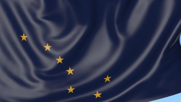 Thumbnail for Winkende Flagge des Staates Alaska gegen den blauen Himmel