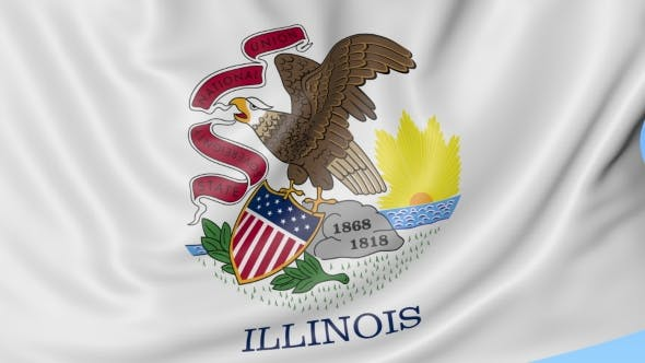 Thumbnail for Waving Flag of Illinois State Against Blue Sky