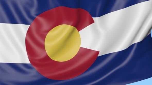 Thumbnail for Waving Flag of Colorado State Against Blue Sky