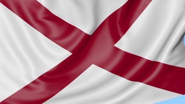 Thumbnail for Winkende Flagge des Alabama-Staates gegen den blauen Himmel