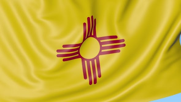 Thumbnail for Waving Flag of New Mexico State Against Blue Sky