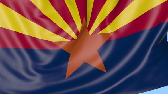 Thumbnail for Winkende Flagge des Staates Arizona gegen den blauen Himmel