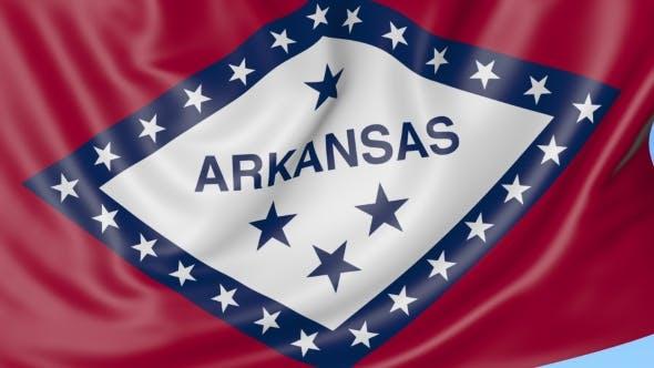 Thumbnail for Waving Flag of Arkansas State Against Blue Sky