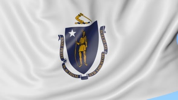Thumbnail for Waving Flag of Massachusetts State Against Blue Sky