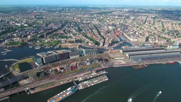 City Aerial View Over Amsterdam