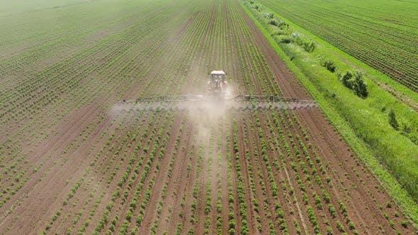 Traktor Sprühen Pestizide auf Gemüsefeld mit Sprüher
