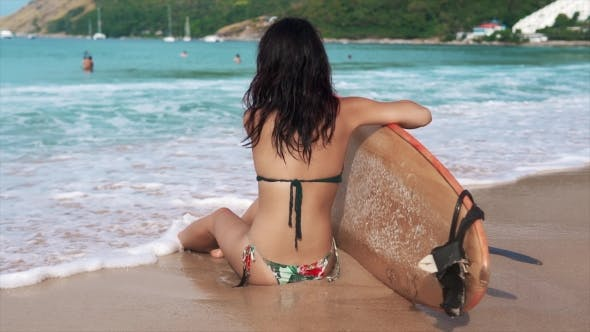 Thumbnail for Beautiful Surfer Girl Checking the Waves