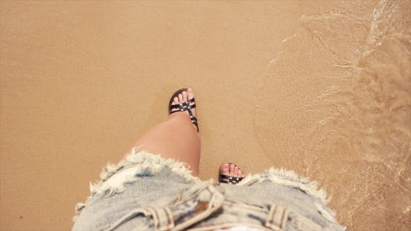 Thumbnail for Woman Feet on Sea Beach Sand