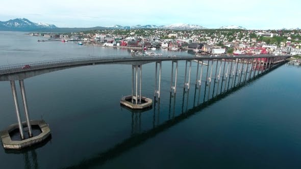 Thumbnail for Bridge of City Tromso, Norway Aerial Footage