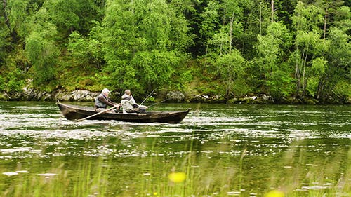 Old Men Fishing Out Of A Row Boat