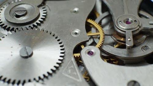 Mechanic Clockwork Mechanism Works with Bronze Spring and Metal Cogs