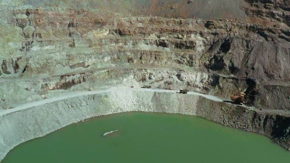 Thumbnail for Aerial. An Excavator Is Extracting Coal in an Opencast Mine