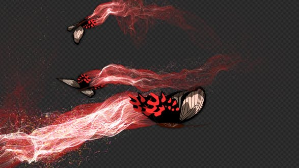 Red Brown Butterfly Gorgeous Particle Light Trailing Flying V3 HD