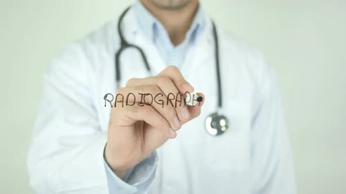 Radiography, Doctor Writing on Transparent Screen