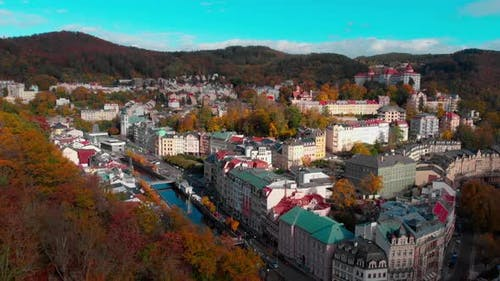 Drone view on autumn Karlovy Vary old town in Europe