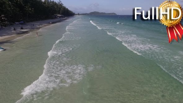 Thumbnail for Aerial View of the Sea, Waves and Beach With Palm