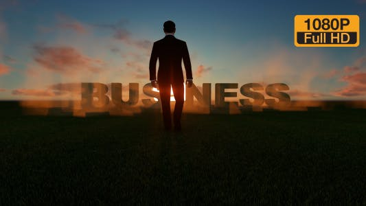 Creative Business Text and Sunset Sky