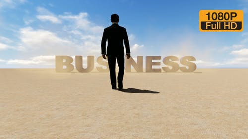 Creative Business Text and Walking Businessman